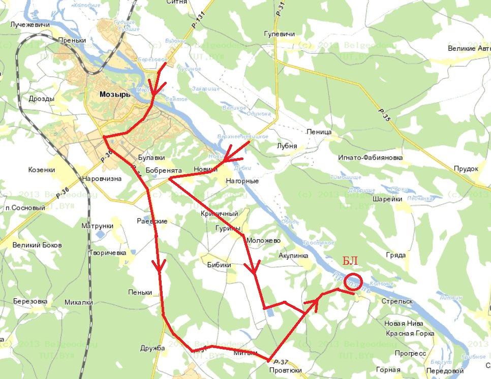 Схема проезда к Стрельску: